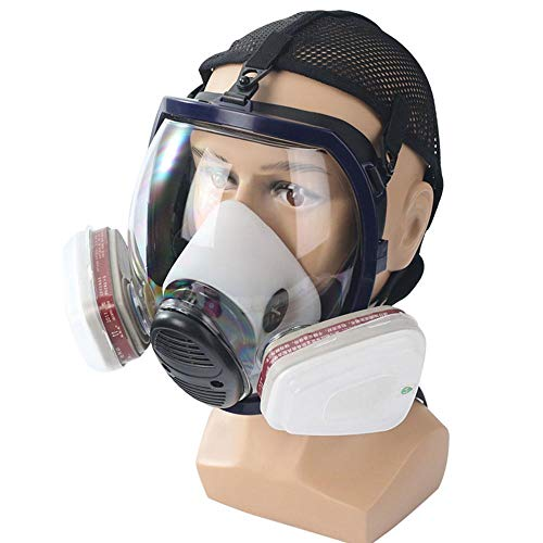 FOONEE Full Face Dust Masks and Respirators with Adjustable Head Net, Reusable Double Filter Cartridge Activated Carbon Anti-Virus Mask Safety Respirator, Strongly Remove Harmful Substances