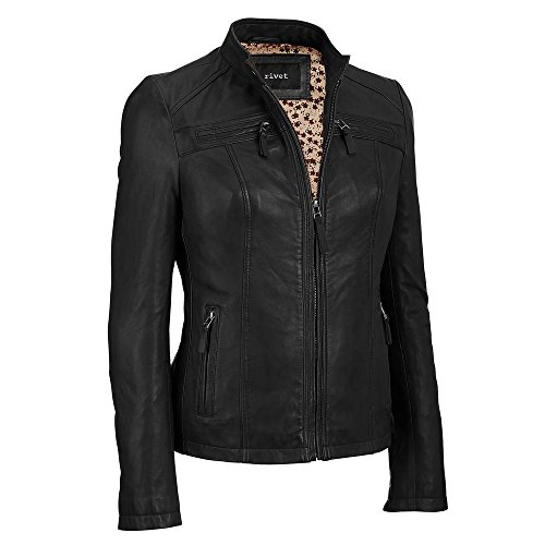 Black Rivet Womens Center Zip Leather Scuba S Black