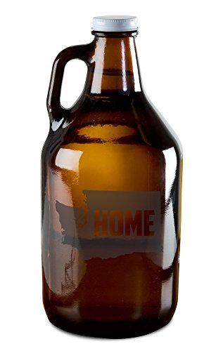 (State of Washington Home State Etched Growler for Beer, Wine, Whiskey, Moonshine, and More!)