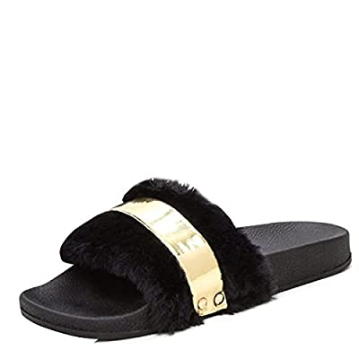 Bamboo Womens Open Toe Fur Slide Black Faux Flat Sandal Flip Flop Slippers