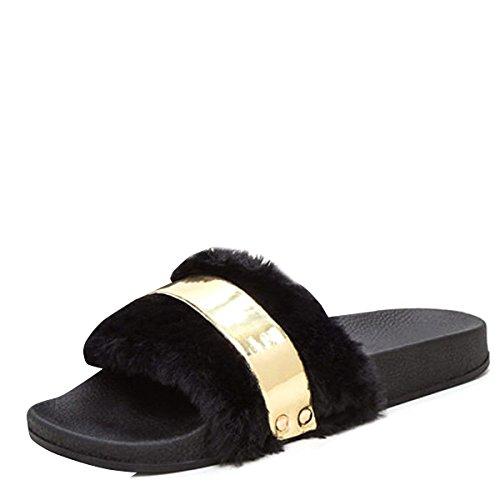 Bambou Femmes Bout Ouvert Fourrure Diapositive Noir Faux Plat Sandale Flip Flop Pantoufles Or