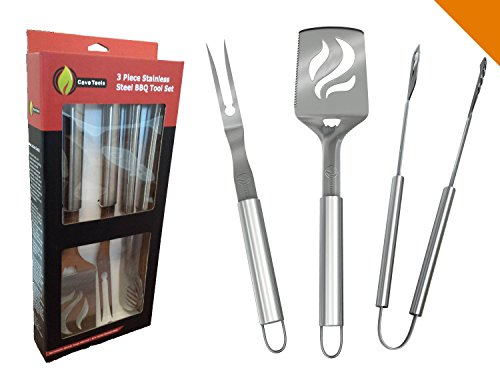 BBQ Grilling Tools Set - Heavy Duty 20% Thicker Stainless Steel - Professional Grade Barbecue Accessories - 3 Piece Utensils Kit Includes Spatula Tongs & Fork - Unique Birthday Gift Idea For Dad by Cave Tools