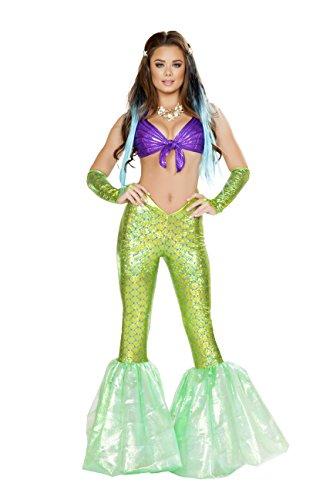 2 Piece Mermaid Sea Siren Purple Top & Green Bell Bottoms Party Costume -