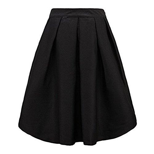 avec Jupe lgante Plisse Femme Noir ZhuiKun Patineuse Midi Jupe Poche xfq0XwST