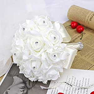 123 TEST Artificial Flowers Bride Holding Bouquet Handmade Silk Roses Flowers for Wedding Engagement Valentine's Day Church Party and Home Hotel Office Garden Craft Art Decoration(Milk White) 5