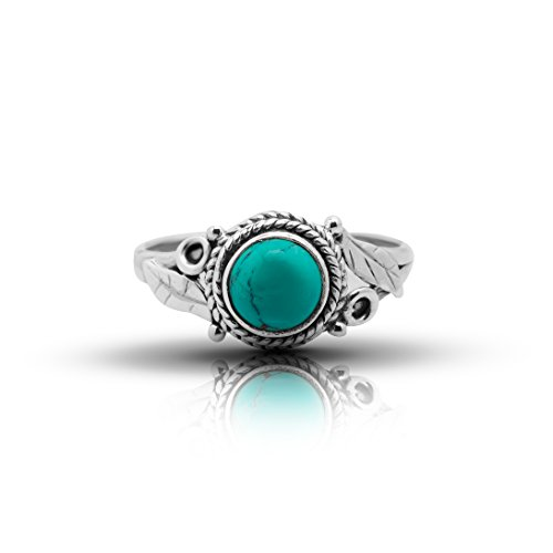 Koral Jewelry Synthetic Turquoise Feathers Sides Round Stone Ring 925 Sterling Silver Tribal Gipsy Boho Look (5)