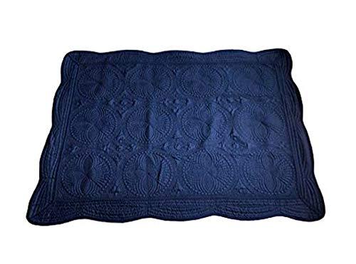 THOUSMOON Toddler Baby Blanket Baby Quilt Crib Blanket Lightweight Cotton Embossed Quilted Sleep Quilt (Navy)