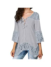 kingf Womens Long Lace Blouse 3/4 Sleeve Chiffon Casual V-Neck T Shirts Tops