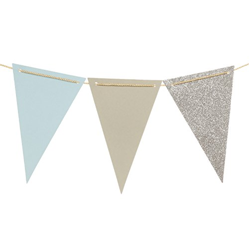 Ling's moment 10 Feet Paper Banner Flags Triangle Flags Banner Vintage Style Pennant Banner for Wedding, Baby Shower, Event & Party Supplies, 15pcs Flags (Gray+Light Blue+Silver Glitter)