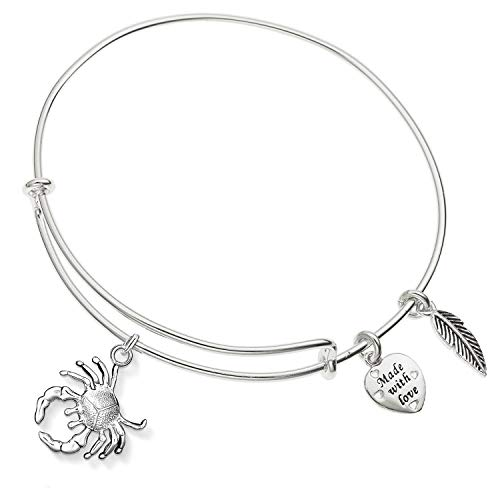 Enni of York Zodiac Sign Cancer Expandable Shiny-Silver Tone Bangle - Zodiac Charm Plated