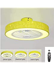 Ceiling Fan with lamp, LED Silent Ceiling Light with Hide Fan Stepless Dimmable with Remote Control 3 Speed Nursery Bedroom Office Restaurant,Yellow