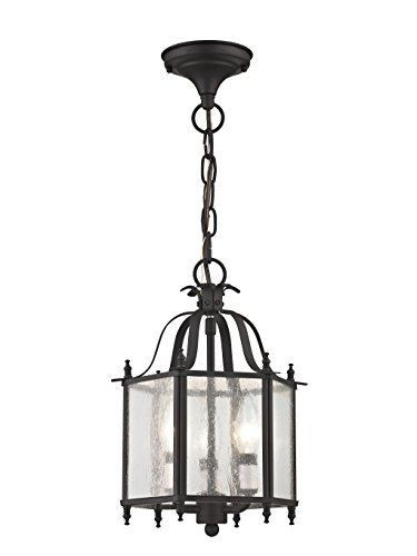 (Livex Lighting 4397-07 Livingston 3-Light Convertible Hanging Lantern/Ceiling Mount, Bronze)