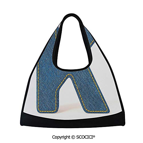 - Table tennis bag,Alphabet Font Denim Style Blue Jean Texture Capitalized Character K Illustration Decorative,Multi Functional Bag (18.5x6.7x20 in) Blue Yellow