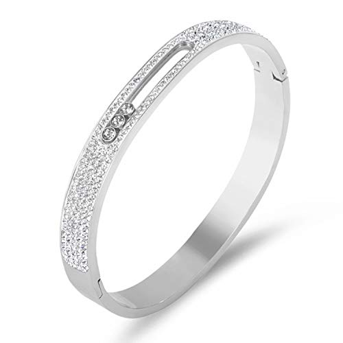 (Designer Inspired Titanium Steel Luxury Love Bracelet with Sliding Swarovski Crystals (Silver Encrusted))