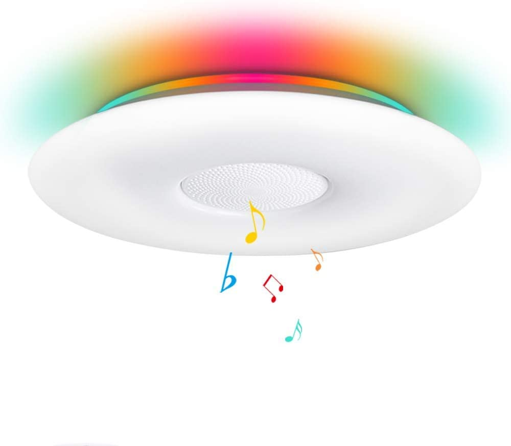 OFFDARKS Smart Music Ceiling Light Support WiFi/Alexa/Google Home,12inch 36W(3000LM) +5W Color Changing RGB with Bluetooth Speaker LED Light Fixture for Living Room Bedroom Remote APP Control