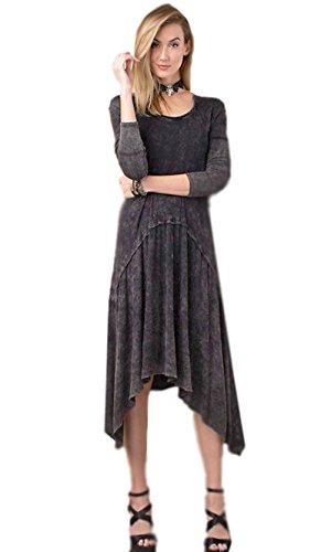 Sears Long Sleeve Oversized Midi Knee Dress Oil Wash Black Dress  Small