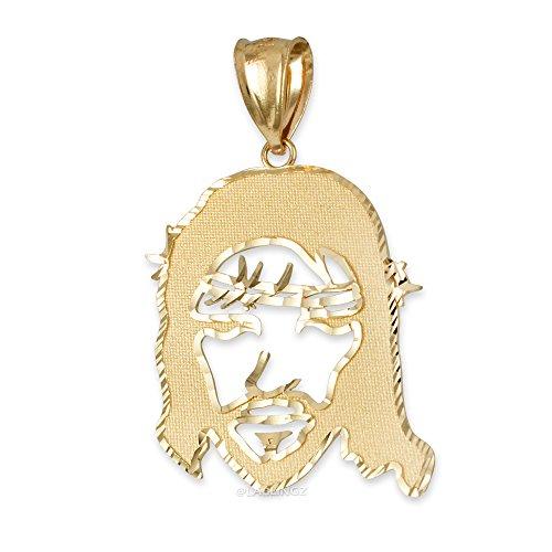Hip-Hop Jewelry by LA BLINGZ 14K Yellow Gold Jesus Face DC Unisex Pendant (M-1.67'') by Hip-Hop Jewelry by LA BLINGZ