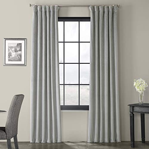 Half Price Drapes VPCH-145002-96 Signature Blackout Velvet Curtain, Silver Grey, 50 X 96 (Silver Curtains Grey)