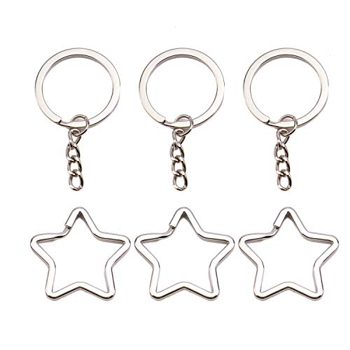 (Monrocco 20Pcs Star Keychains, Star Shaped Keyring Jewelry Keyring Keychain Key Tag Ring Chain Supplier Supply)
