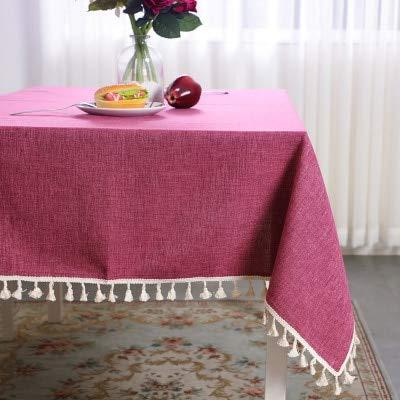 Mantel de Color solido Algodon y Lino Borla Simple Mesa de Centro Cuadrada Mesa de Comedor Hogar Mantel de jardin Fresco 90 * 90 cm Rosa