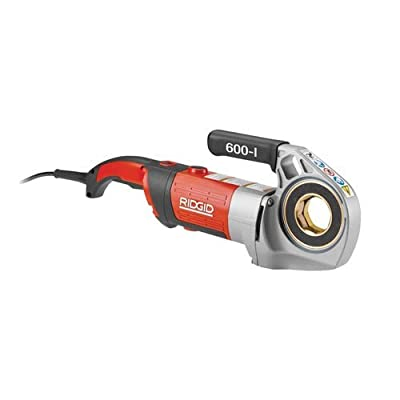 RIDGID 44913 600-I Pipe Threading Machine, Hand Held Power Drive Pipe Threading Machine with Carrying Case and Dual V-Jaw Support Arm for Stable Operation