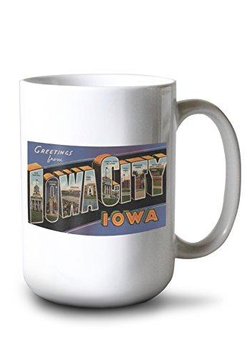 Lantern Press Greetings from Iowa City, Iowa - Vintage Halftone (15oz White Ceramic Mug)