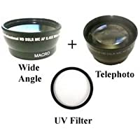Wide Lens + Tele + UV Kit for Panasonic AG-AC90P AC90PJ, Panasonic AC90PX AC90EJ, Panasonic AC90EN