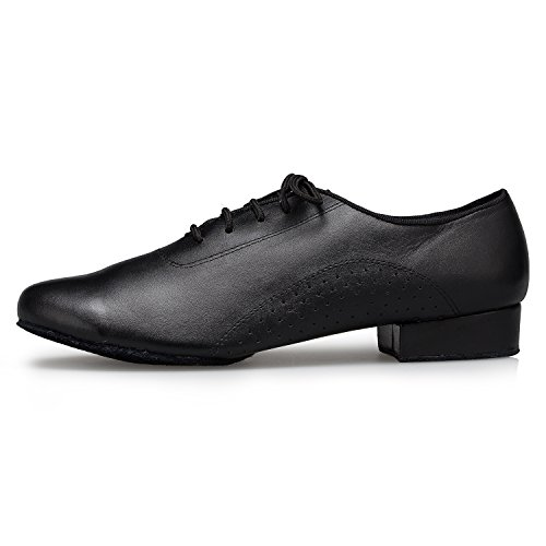 Image of CRC Men's Stylish Round Toe Lace up Black Leather Salsa Tango Ballroom Morden Latin Jazz Rumba Professional Dance Shoes 6.5 M US