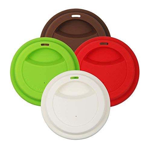 Qzc 4 Pack Silicone Coffee Cup Lid Drinking Lid,Reusable and Durable Soft Silicone Drinking Lid-Red,Green,White,Brown ()