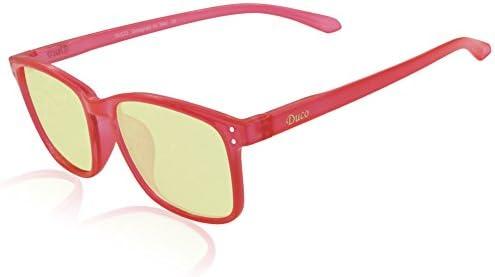DUCO 8016 Gafas Ergonómicas para Ordenador y Videojuegos Gaming Bloquean Luz Azul Marco Rojo Lentes Ámbar: Amazon.es: Videojuegos