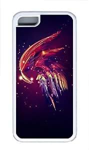 Abstract plume TPU Case Cover for iPhone 5C White wangjiang maoyi