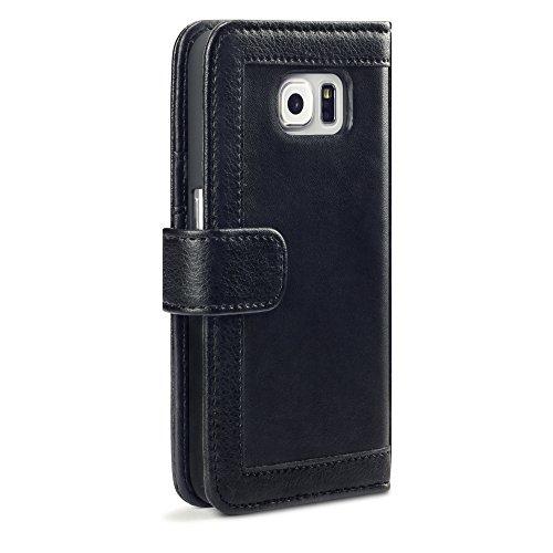 Samsung Galaxy S6 Case, Terrapin Trendy [Studded] Samsung Galaxy S6 Wallet [Black] Zipper PU Leather Case for Samsung Galaxy S6 - Black