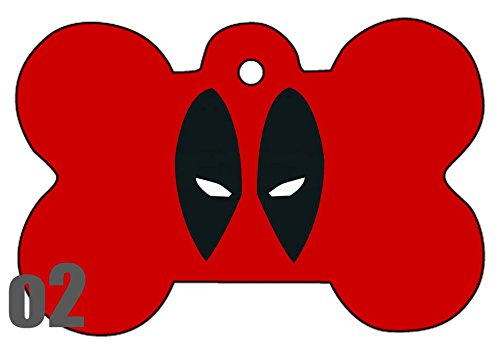 c1 Deadpool Comic Bang Art Logo Dog Pet Cat ID Tag Bone Shape Image PhotoPersonalized with Key Ring (Face)