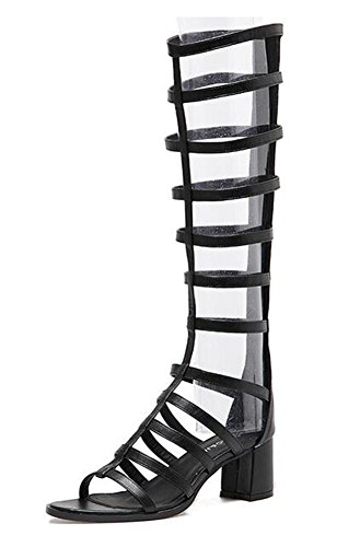 Mofri Women's Trendy Open Toe Back Zipper Medium Block Heels Under The Knee High Gladiators Sandals (Black, 4 B(M) US) ()