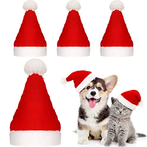 SATINIOR 4 Pieces Dog Santa Hat Christmas Pet Hats Pet Costumes for Dogs Cats Christmas Supplies from SATINIOR