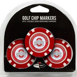 Set of 3 Ohio State Buckeyes Poker Chips with removable Golf Ball Markers by Team Golf