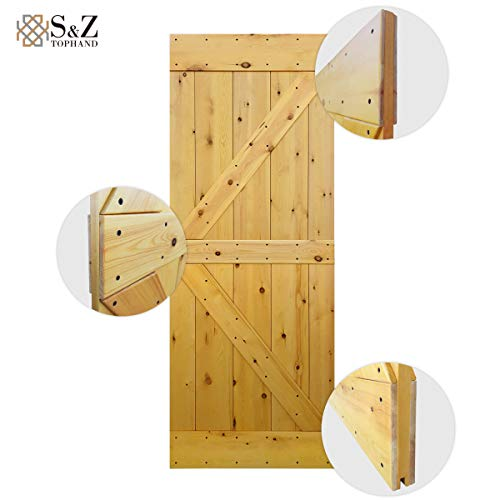 S&Z TOPHAND 30 in. x 84 in. Varnish British Brace Knotty Pine Barn Door/Double Surfaces/Surface is Finished and Ready to be Stained. Can be Stained or Painted to Desired Finish/Color. (30, Varnish) ()