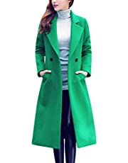 Tanming Women's Notch Lapel Double Breasted Wool Blend Mid Long Pea Trench Coat