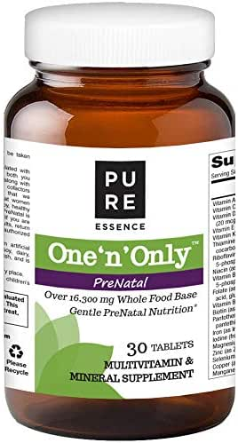 Pure Essence Labs One n Only Prenatal Vitamins - One a Day Multivitamin Support with Iron, Natural Herbs, Superfoods and Folate - 30 Tablet