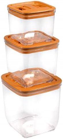 Hogar y Mas Pack de 3 Tápers - fiambreras 4 Colores - Naranja: Amazon.es: Hogar
