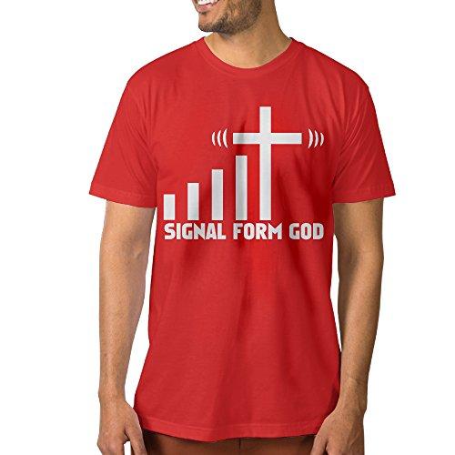 Men's God Signal Christian Cross Wifi T-Shirt XL Red