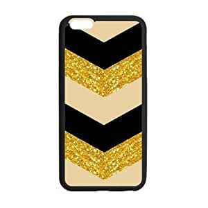 Aztec Series Chevron Design Gold Black Bling (No Shine) Custom Luxury Cover Case with Silicon PC For Case Cover For Apple Iphone 4/4S (Black)