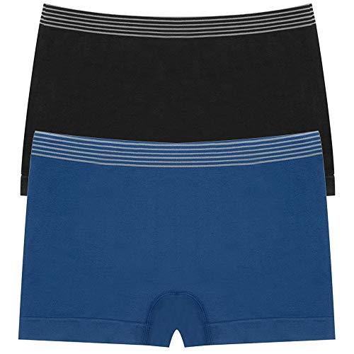 DEEP TOUCH Boy Shorts Underwear for Women, Boyshorts Panties for Women, Premuim Womens Underwear (Pack of 2(Black,London Blue), Medium) ()
