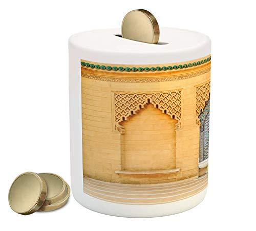 Ambesonne Architecture Piggy Bank, Photo of Moroccan Style Fountain with Folkloric Mosaic Tiles, Printed Ceramic Coin Bank Money Box for Cash Saving, Pale Orange and Multicolor