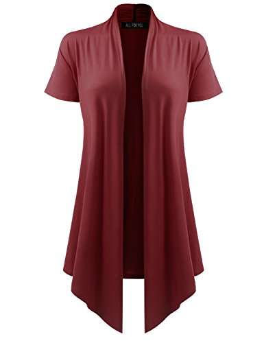 ALL FOR YOU Women's Soft Drape Cardigan Short Sleeve Wine ()