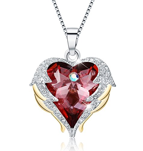 (Mevecco Womens Fashion Necklace with Swarovski Crystal Heart Pendant Necklace Jewelry-NK10-Red)