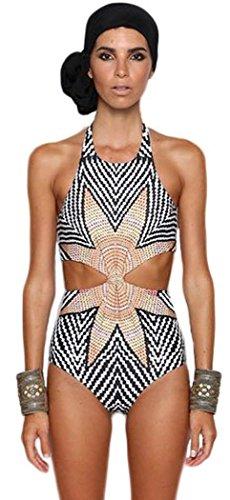 Fat Lady In Swimming Costume (IF FEEL Womens Charming Halter One piece Bikini Snowflake Shaped Printed Monokini Swimsuit - Size XL)