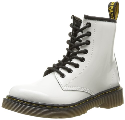 Dr. Martens Children's Delaney Lace Boot,White Patent Lamper,UK 11 M by Dr. Martens
