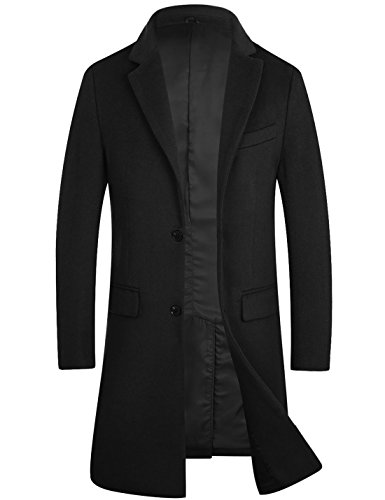 APTRO Men's Wool Coat Long Fashion Slim Fit Overcoat Jacket 1702 DZDY Black XL