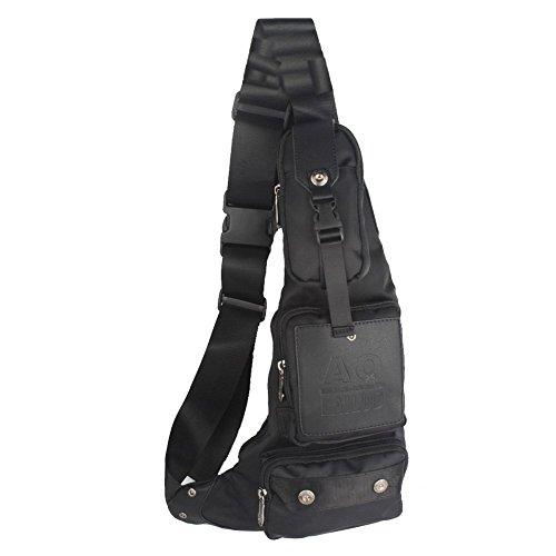 Innturt Nylon Sling Bag Daypack Chest Bag Messenger Backpack Outdoor (Black)